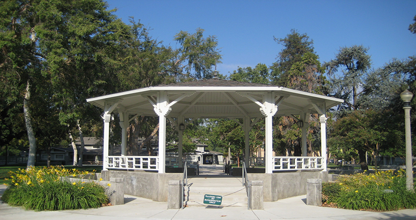 Gazebo at white park parks recreation and community services for Public swimming pools in riverside ca