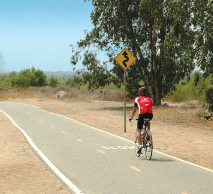 bicycle rider on santa ana river trail