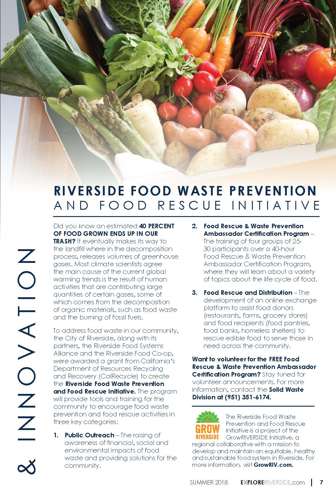 Food Waste Article from Explore Riverside Magazine