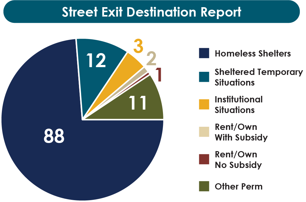 Street Exist Destination Report, Homeless Shelters is 88, Sheltered Temporary Situations is 12, Institutional Situations is 3, Rent/Own With Subsidy is 2, Rent/Own No Subsidy is 1, Other Permanent is 11